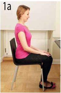 Prawidłowa pozycja przy biurku, ćwiczenia na zdrowy kręgosłup na krześle.